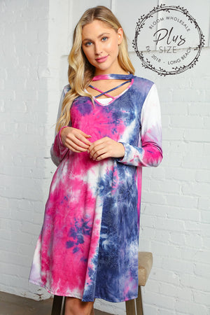 Plus Navy & Magenta Tie Dye Criss Cross Choker Tunic Dress