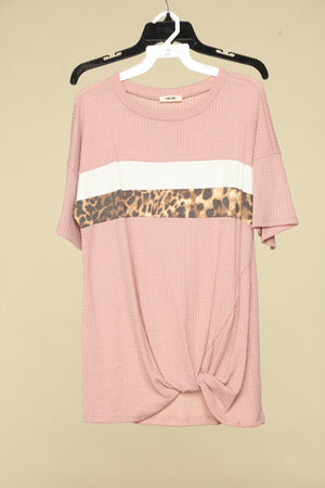 Blush Waffle Animal Colorblock Top With Knot Hem