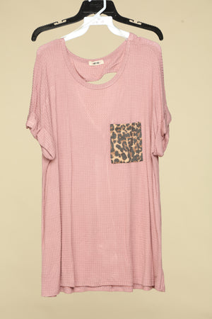 Blush Waffle Open Back Key Hole Design Blouse with Animal Print Pocket