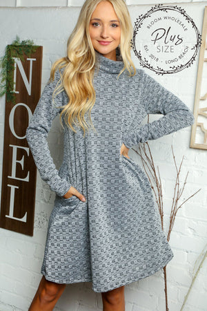 Plus Grey Textured Turtle Neck Midi Pocket Dress
