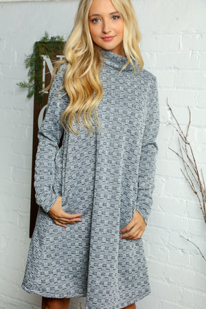 Grey Textured Turtle Neck Midi Pocket Dress