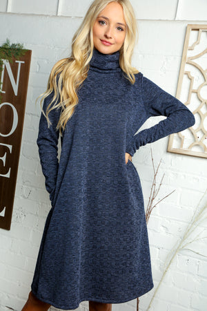 Navy Textured Hacci Turtle Neck Midi Pocket Dress