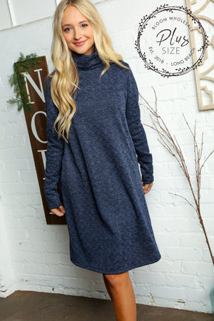 Plus Navy Textured Hacci Turtle Neck Midi Pocket Dress