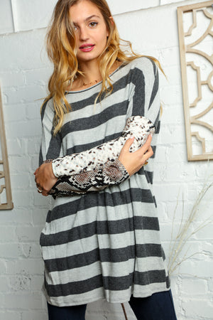 Plus Charcoal Grey Stripe Snake Skin Sweater