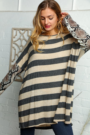 Plus Taupe Stripe Snake Skin Sweater