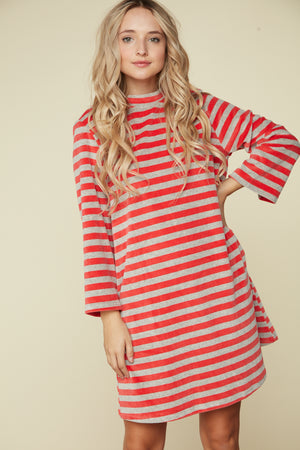 Orange Stripe Back Key Hole Button Dress