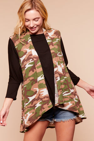 Plus Camo Sleeveless Cardigan