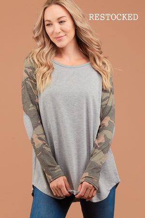 Grey Camo Elbow Patch Raglan