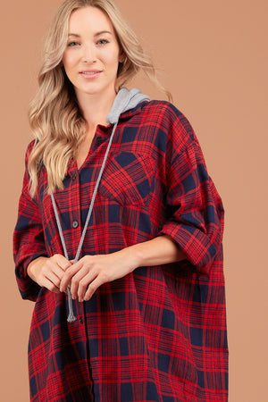 Oversized Red & Navy Plaid Hooded Dress