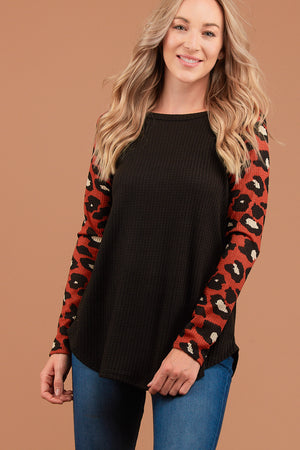 Orange & Black Animal Print Raglan Thermal Blouse