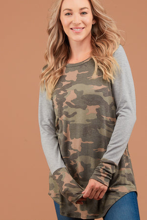 Camo Raglan Design Thumb Hole Blouse