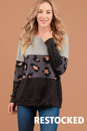 Charcoal Animal Colorblock Sweater