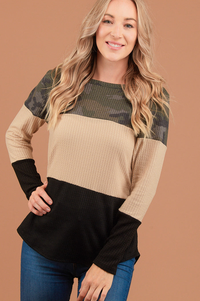 Camo Taupe Colorblock Thermal Blouse