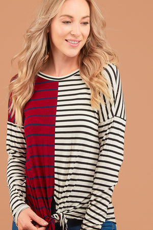 Burgundy Stripe Design Blouse