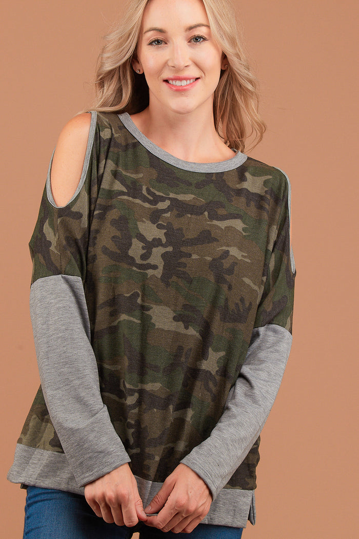 Camo Cold Shoulder Sweater