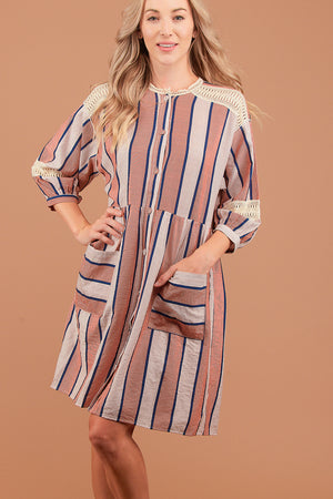 Orange Vertical Stripe Button Down Dress