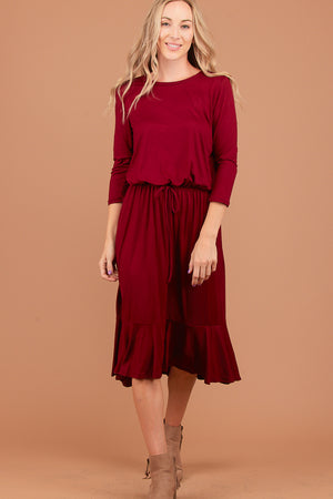 Maroon Synch Waist Dress