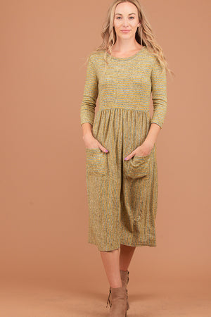 Mustard Stripe 2 Tone Pocketed Dress