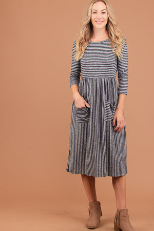 Navy Stripe 2 Tone Pocketed Dress