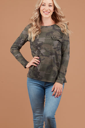 PLUS Thermal Olive Camo Pocket Blouse