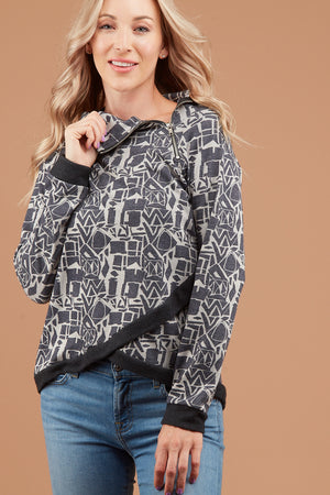 Grey Geometric Design Side Zipper Sweater