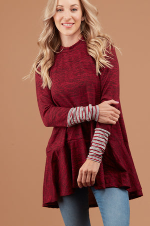 Red Marled Stripe Detail Sweater