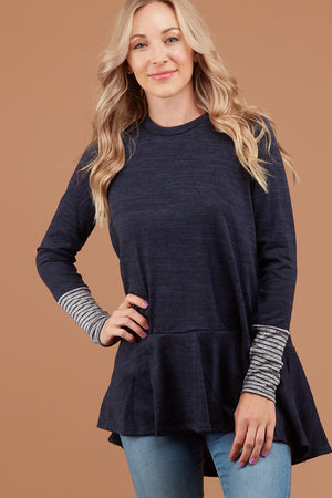 Navy Marled Stripe Detail Sweater