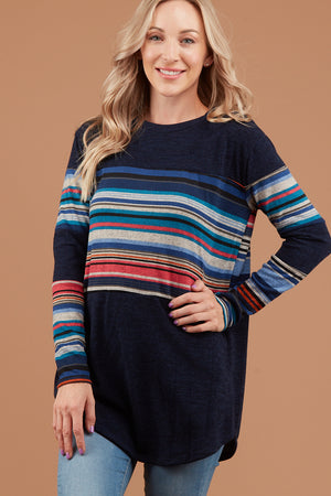 Navy Multi Stripe Sweater
