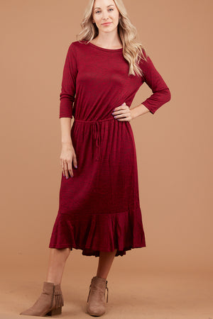 Burgundy 2 Tone Synch Waist Dress