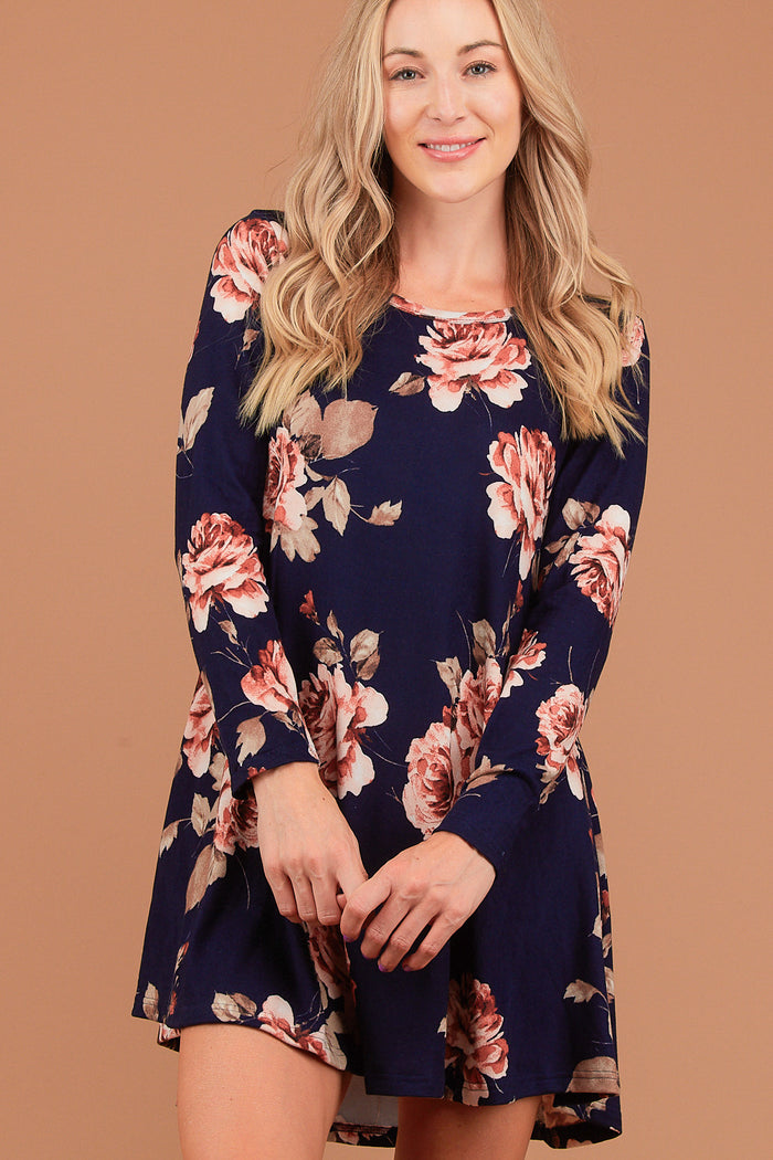 Navy Floral Hacci Dress
