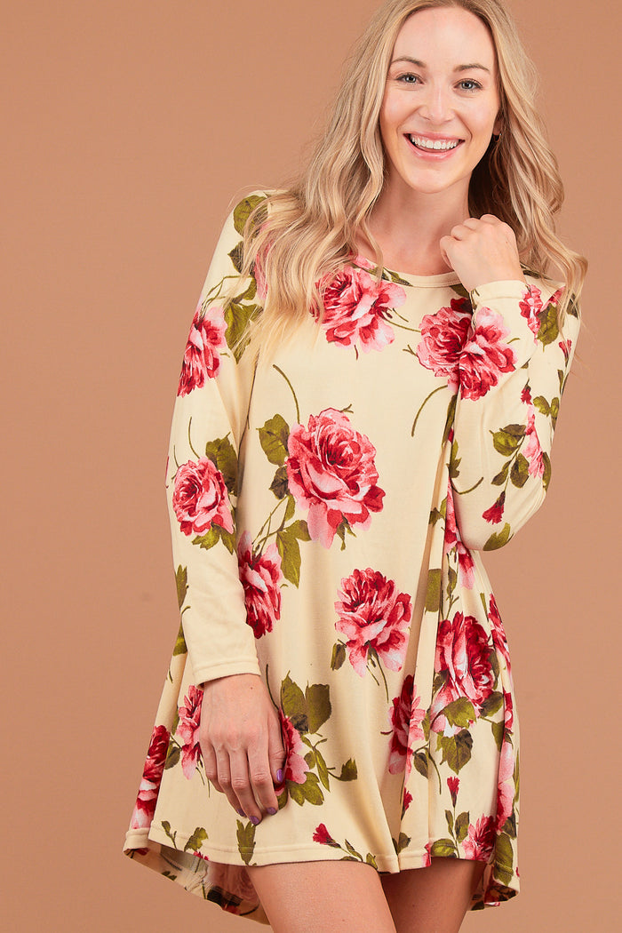 Taupe Floral Hacci Dress