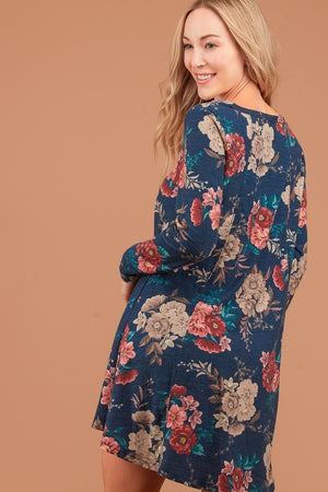 Plus Navy Floral French Terry Dress