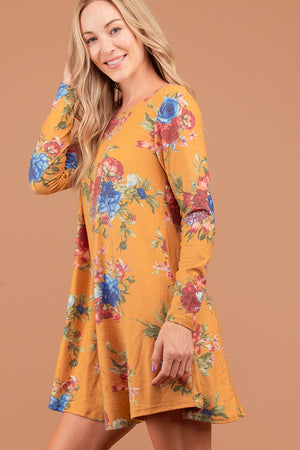 Mustard Floral French Terry Dress