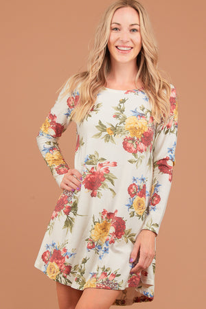 Ivory Floral French Terry Dress