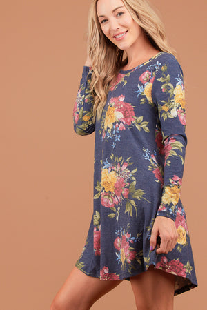 Navy Floral French Terry Dress