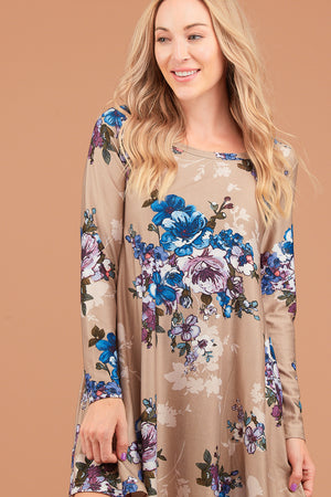 Taupe Floral French Terry Dress