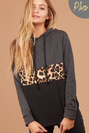 Plus Charcoal Animal Colorblock Hoodie