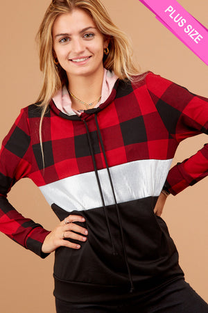 Plus Red Plaid Sequence Color Block Hoodie