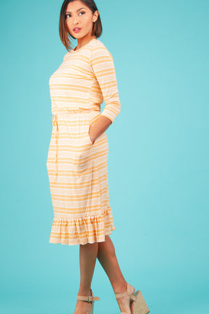 Orange Stripe Midi Dress