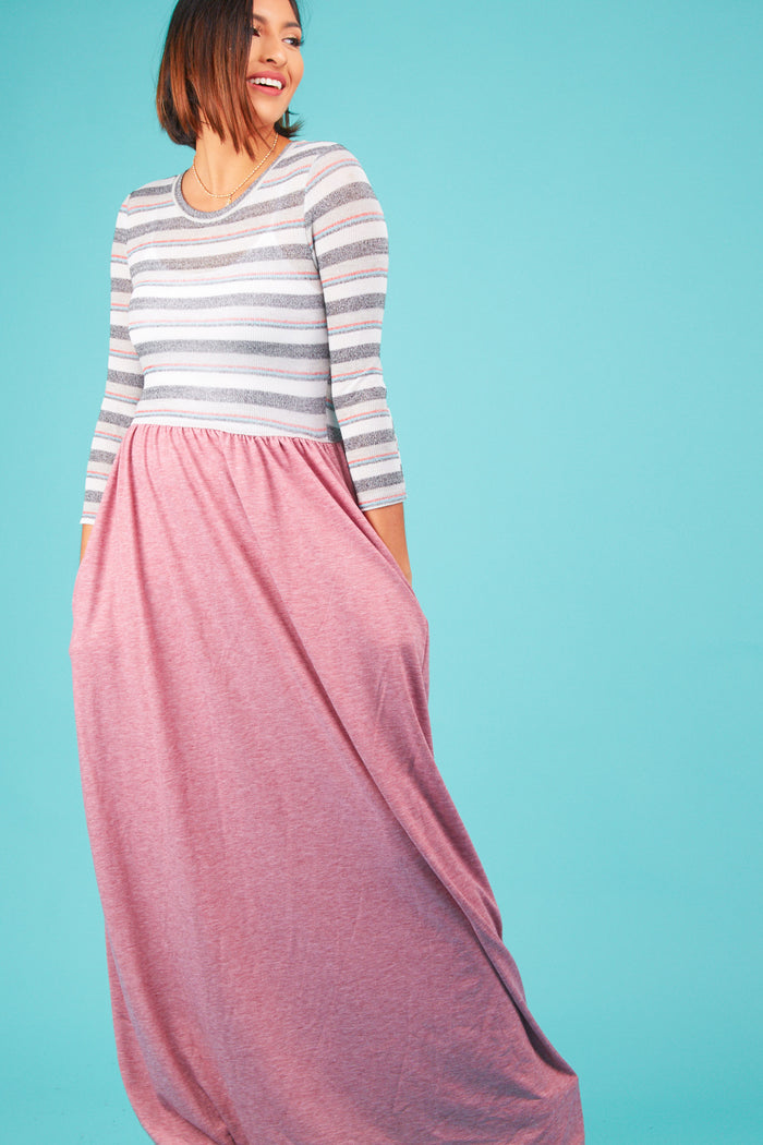 Multi Mauve Stripe Maxi Dress