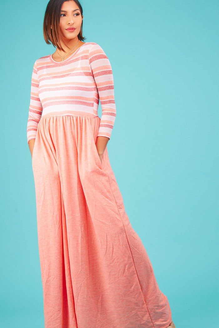 Coral Stripe Maxi Dress