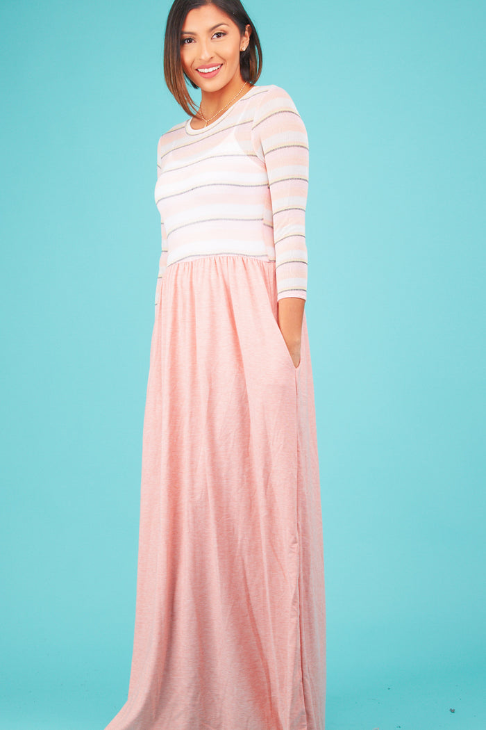 Blush Multi Stripe Maxi Dress