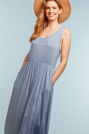 Plus Blue Solid Maxi Dress