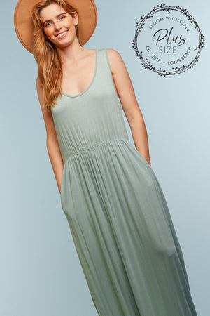 Plus Sage Solid Maxi Dress