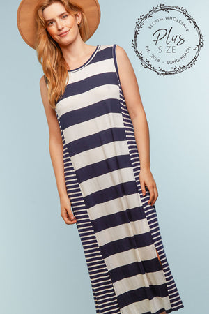 Plus Navy Stripe Design Dress