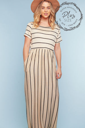 Plus Ivory Stripe Pocketed Maxi Dress