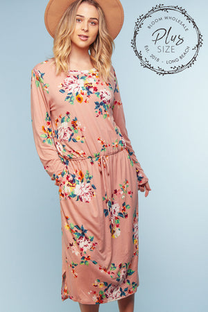Plus Pink Floral Pocketed Dress