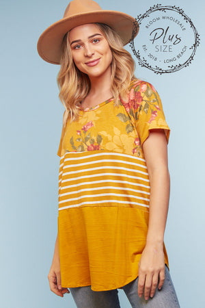 Plus Mustard Floral Color Block Blouse