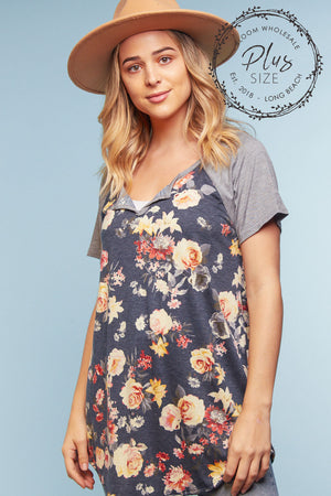 Plus Navy Floral Raglan Blouse
