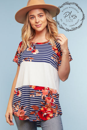 Plus Navy Stripe Floral Color Block Blouse